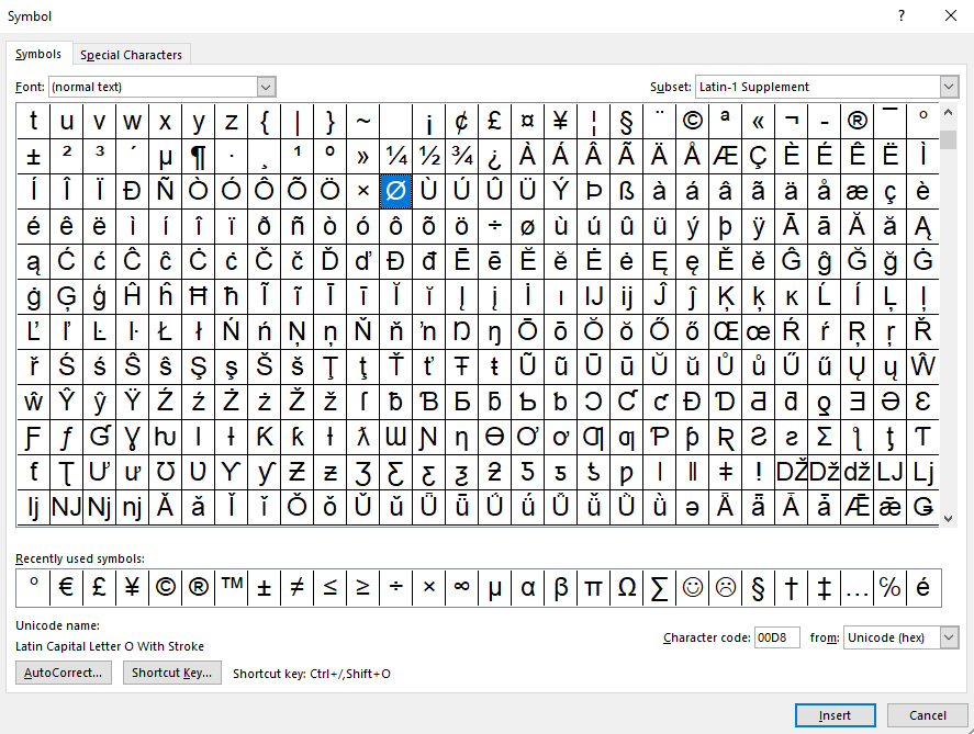 Windows character table
