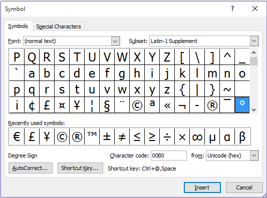 Insert Degrees sign by Windows Character Table